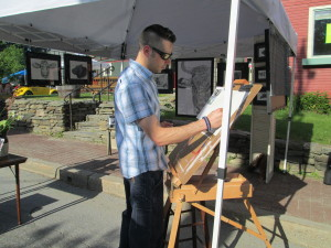 Doing some sketching at the first Art on Park art walk in Stowe